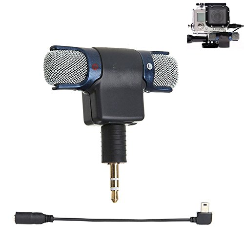 Stereo Condenser Microphone for GoPro Hero 3 3+ 4 Mic Cable Adapter - 1