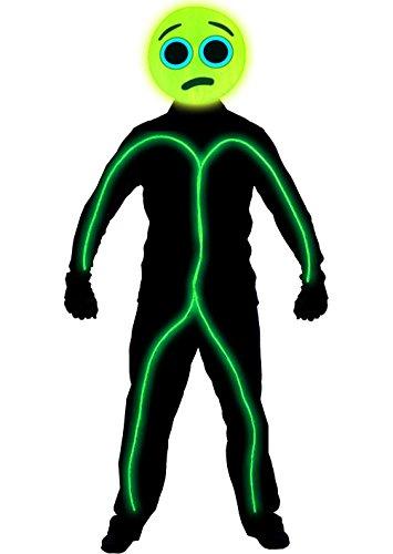 Stickman Halloween Costume (GlowCity Light Up Worried Emoji Stick Figure Costume For Parties & Halloween, Lime Green - Small)
