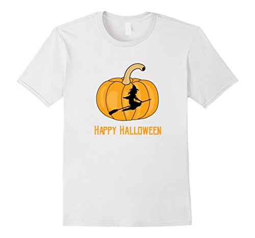 Mens Awesome Witch and Pumpkin Easy Halloween Costume T-shirt 3XL White