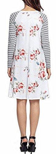 Vestido Jaycargogo Mujeres Ocasional Manga Rayado Blanca De De Las Cuello Suelto Floral Redondo Larga gHx0rg