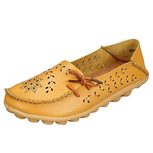 Heheja Mujer Hueco Ocio Piso Zapatos Mocasines de Cuero Loafers con Bowknot Amarillo