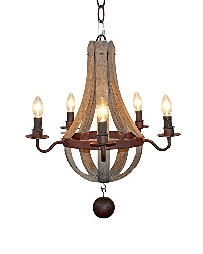 Parrot Uncle Rustic 5 Light Wooden Chandeliers Vintage American Industrial Candle Ceiling Pendant Light Rust Metal Finish