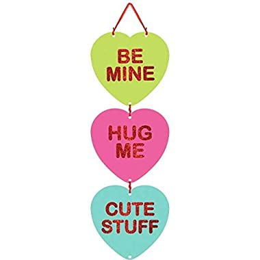Amscan Blushing Valentine's Day Candy Heart Medium Sign with Ribbon Hanger Party Decoration, Board, 18  x 6 ,