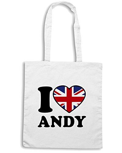 T-Shirtshock - Bolsa para la compra TLOVE0075 love andy logo Blanco