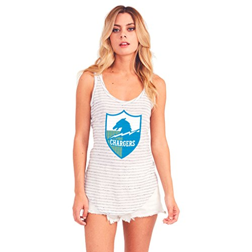 Junk Food San Diego Chargers White and Gray Striped Tank Top (Women