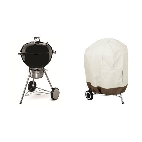 Weber 14501001 Master-Touch Charcoal Grill, 22-Inch, Black & AmazonBasics Kettle Grill Cover by Weber