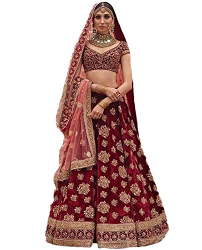 - REKHA Ethinc Shop Bridal Embroidery Work Indian Bollywood Designer Lehenga Choli A329 Maroon