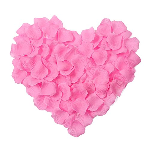 HKBAYI 10bag 1000pcs Silk Rose Petals Artificial Flower Wedding Party Vase Decor Bridal Shower Favor Centerpieces Confetti (Pink)