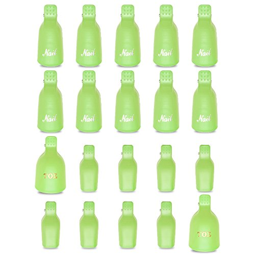 Teenitor Gel Removal Clips, 20 Pieces Reusable Toenail and Finger Nail Gel Polish Remover Set, Gel Nail Polish Remover Clips - (Green Enamel Clip)