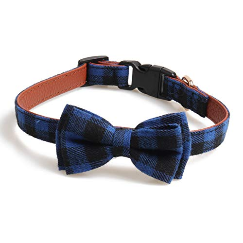 chede Soft Comfortable,Adjustable Collar,Bowtie Dog Collar for Small/Medium/Large Dogs (L(14-21), Blue Plaid)