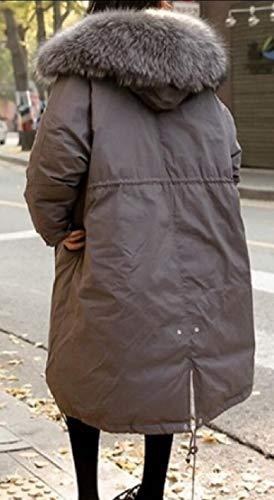 Hoodie Winter Casual Gery EKU Women's Parkas Trench Overcoat Coat Jacket Long fCqgOFwtx