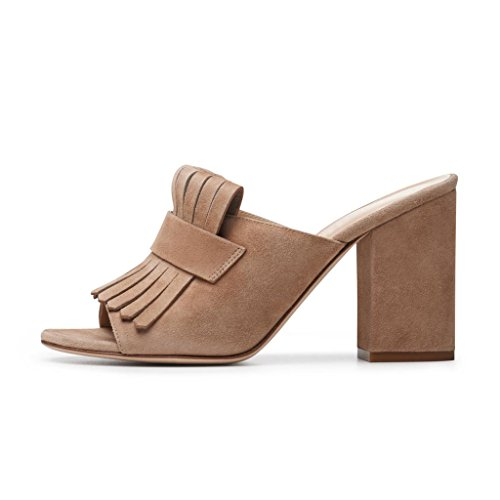 XYD Cocktail Party Mule Shoes Women High Heel Slingbacks Open Toe Slip On Summer Sandals Tan vPM4ES