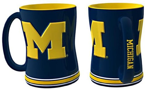 Michigan Wolverines Sculpted Coffee Mug (Michigan Day Wolverines Game Watch)