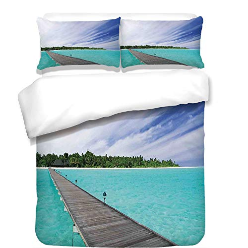 iPrint Duvet Cover Set,Art,View from a Deck at Tropical Island with Exotic Hawaii Sky Landscape Artprint,Turquoise Brown Green,Best Bedding Gifts for Family Or Friends by iPrint