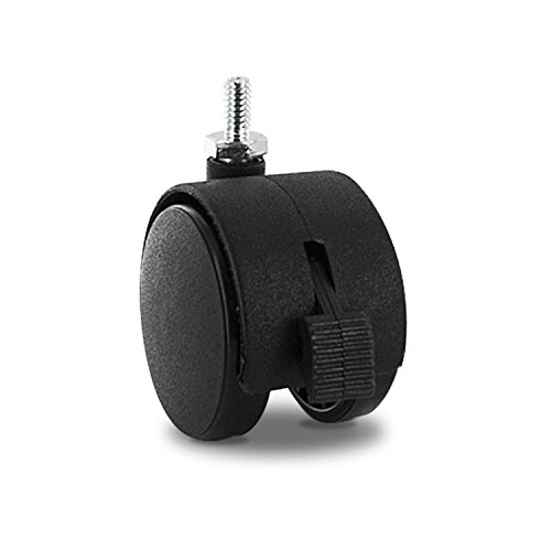 Outwater's Premium 2 inch Heavy Duty Gusset Reinforced Caster Wheels with Brakes (Samson) SAMS-3-BK-BRK with 1/4-20 x 1/2