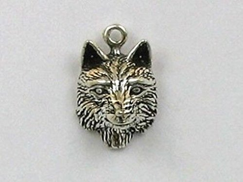 Sterling Silver Wolf Head Charm Jewelry Making Supply, Pendant, Charms, Bracelet, DIY Crafting by Wholesale ()