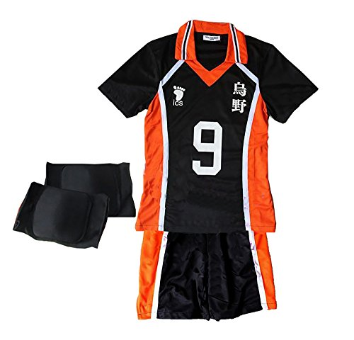 [TOKYO-T Haikyuu Costume Uniform Kageyama Cosplay with Knee Supporter (9,L)] (Cosplay Comic Con Costumes)