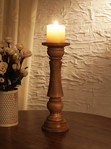 Ardour Distressed Natural Wooden Pillar Candle Holder for Home Decor Fireplace/Wedding/Table Top Accessories - 10 Inches from Generic