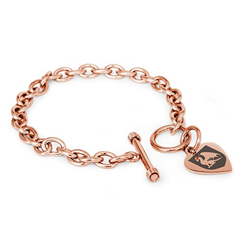 Rose Gold Plated Stainless Steel Dragon Guardian Coat Of Arms Shield Symbols Heart Charm  Bracelet Only