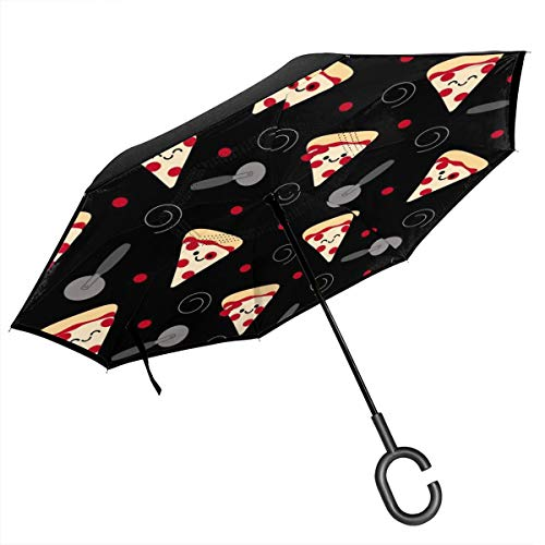 Pizza Slicer Double Layer Inverted Umbrella Windproof Cars Reverse Umbrella - Upside Down Umbrella With C-Shaped Handle