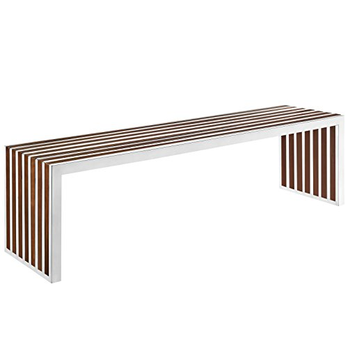 Modway Gridiron Contemporary Modern Large Stainless Steel Bench With Wood Inlay, (Chrome Modern Bed)