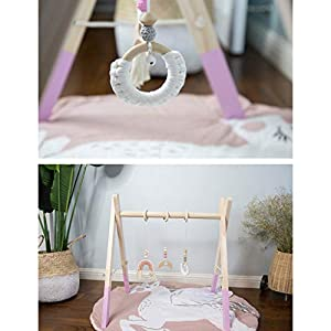1Set Nordic Cartoon Baby Wooden Baby Play Gym Fitness Frame Rack Hanging Pendant Toys Kit Toddler Infant Room…