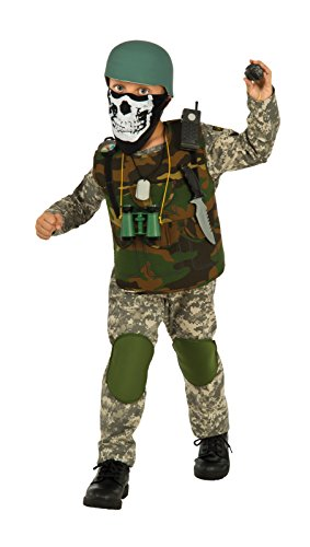 [Deluxe Child Camo Trooper Costume, Small] (Army Men Halloween Costumes)