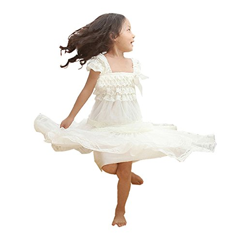 Country Girl Dress (Kaiya Angel Lace Flower Rustic Burlap Girl Baby Country Wedding Flower Dress)
