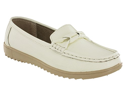Amblers Moccasin Slip On Loafer Deck Flat Summer Holiday Casual Womens Shoes Paros- White opa7SibCt