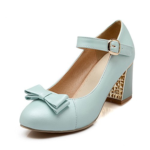 (WeiPoot Women's Round Closed Toe Buckle PU Solid High-Heels Pumps-Shoes, Blue,)