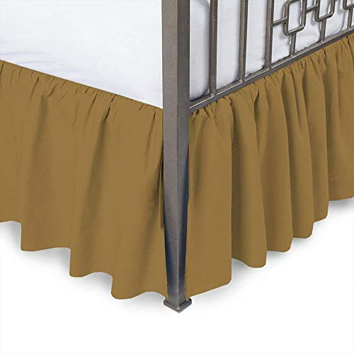 (Linenwala Ruffled Bed Skirt with Split Corners - Queen, Camel, 18 Inch Drop Bedskirt (Available in and 16 Colors))