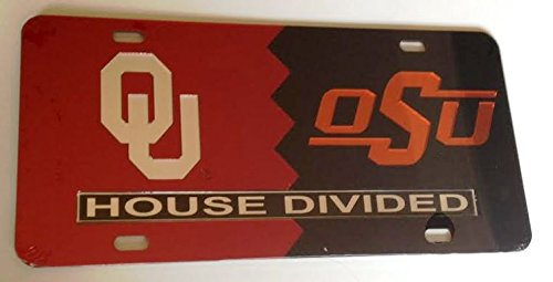 Oklahoma Sooners - Oklahoma State Cowboys - OU OSU - House Divided Mirrored Car Tag License Plate ()