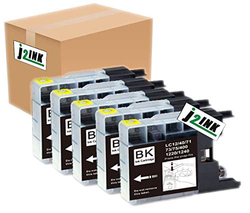 J2INK 5 Pack Compatible with Brother LC-71 LC-75 High Yield (XL Series) 5 Black