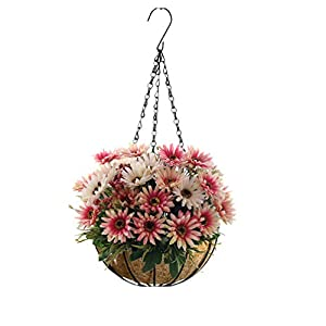 Mynse False Flower China Aster Hanging Basket for Home Office Balcony Christmas Decoration Hanging Flowerpot Artificial Daisy Flowers Pink (Small Basket) 29