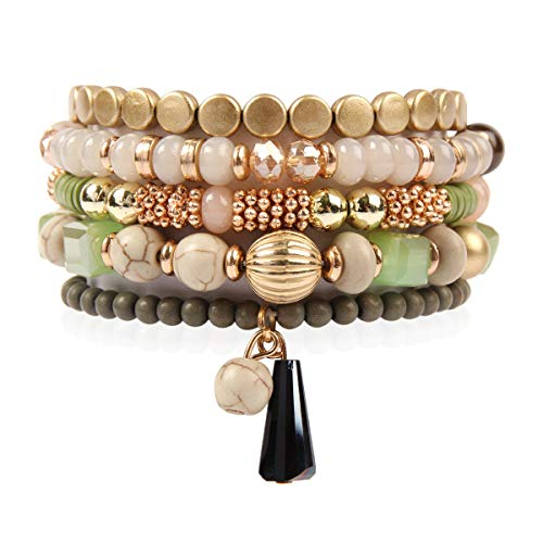 RIAH FASHION Bead Multi Layer Versatile Statement Bracelets - Stackable Beaded Strand Stretch Bangles Sparkly Crystal, Tassel Charm (Bohemian Mix - Green)