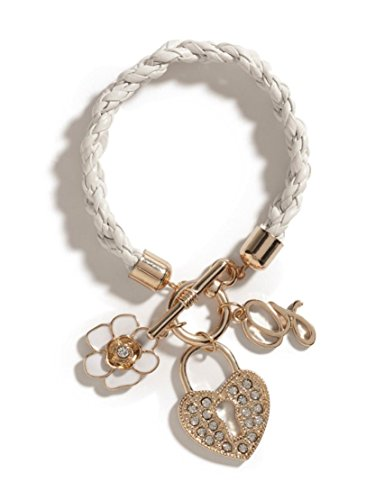 GUESS Gold-Tone with white Woven Toggle Bracelet with heart charm