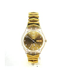 SWATCH MEN'S 39.2MM GOLD-TONE STEEL BRACELET PLASTIC CASE QUARTZ WATCH GE708B