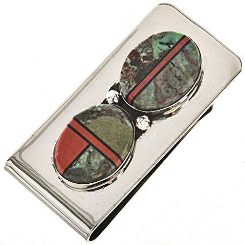 Green Turquoise Silver Money Clip Navajo Inlay With Coral 0097