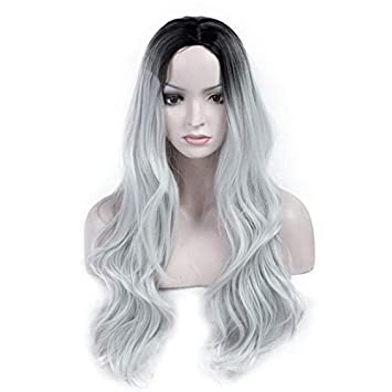 Fine 24 Long Gray Curly Halloween Daily Fashion Hair Heat Resistant Lace Front Wig Spare No Cost At Any Cost Hair Extensions & Wigs Synthetic None-lacewigs