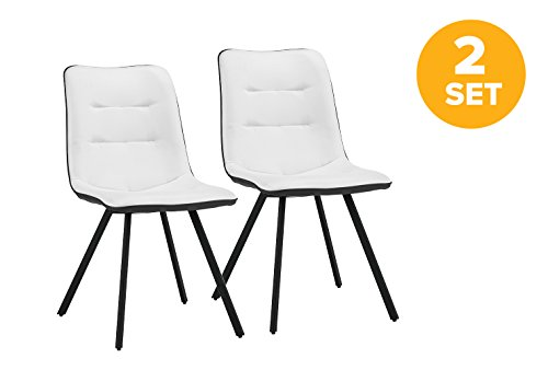 Set of 2 Dining Chairs Faux Leather Kitchen Chairs with Sturdy Metal Legs for Dining Room (Black / White) Review