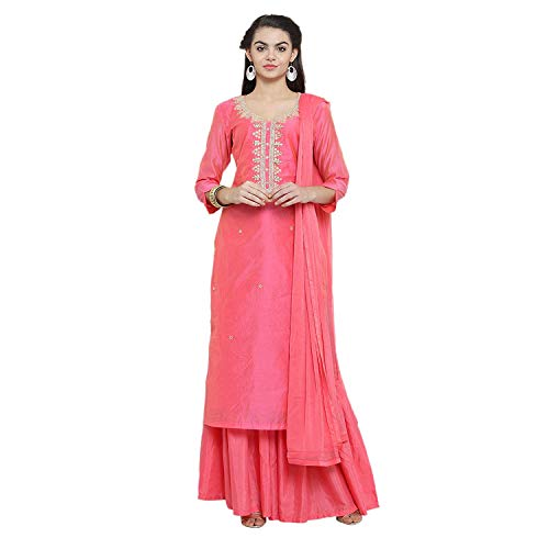 Stitched Readymade Embroidered Salwar Kameez Dupatta Suit Set (Small-36, Pink)