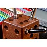 Fancy shoppee wooden Cube Shape Pen Holder Pencil Holder Dice Pencil Cup Pen Stand/Paper wieght/Desk organiser/Office supplies