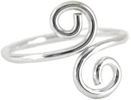 Sterling Silver S-Swirl Adjustable Thumb Ring