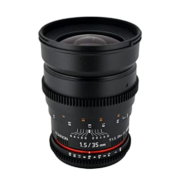 Rokinon Cine CV35-C 35mm T1.5 Aspherical Wide Angle Cine Lens with De-Clicked Aperture for Canon EOS DSLR 35-35mm, Fixed-Non-Zoom Lens