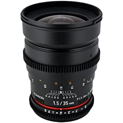 Rokinon Cine CV35-C 35mm T1.5 Aspherical Wide Angle Cine Lens with De-Clicked Aperture