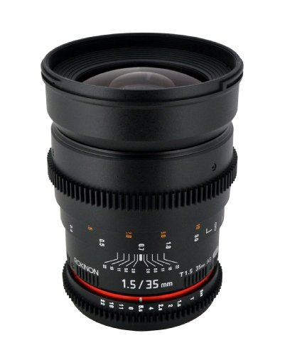 Rokinon CV35-NEX 35mm t/1.5 Aspherical Wide Angle Lens with De-Clicked Aperture for Sony E-Mount (NEX)Fixed Lens ()