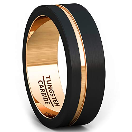 Duke Collections Mens Wedding Band 8mm Black Brushed Tungsten Ring Thin Side Rose Gold Groove Flat Edge Comfort Fit (10)