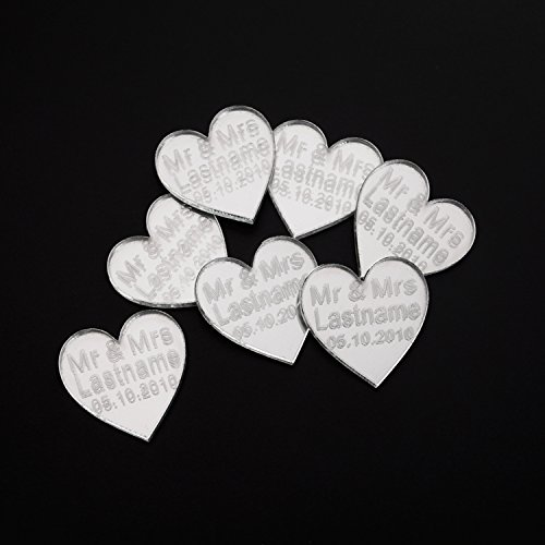 ivisi 50 pcs Personalized Mirror Silver Wedding Custom Last Name Acrylic Favours