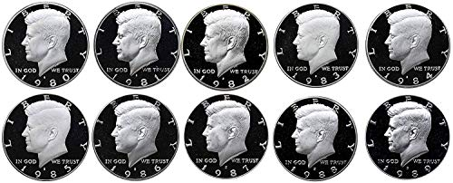 1980 S 1981 S 1982 S 1983 S 1984 S 1985 S 1986 S 1987 S 1988 S 1989 S Kennedy Half Dollar Gem Run 10 Coin Set .50 US Mint Proof ()