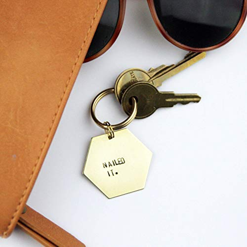 Nailed It Brass Keychain | Accomplishment Gift | Funny Keychain | Graduation Gift | Gold Plated Key Ring | Friend Gift | Pinterest Fail]()